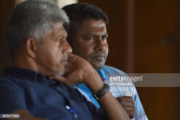 Sri Lankan cricketer Rangana Herath looks on during the first day of the twoday warmup match between Sri Lanka Board President's XI and India at the...