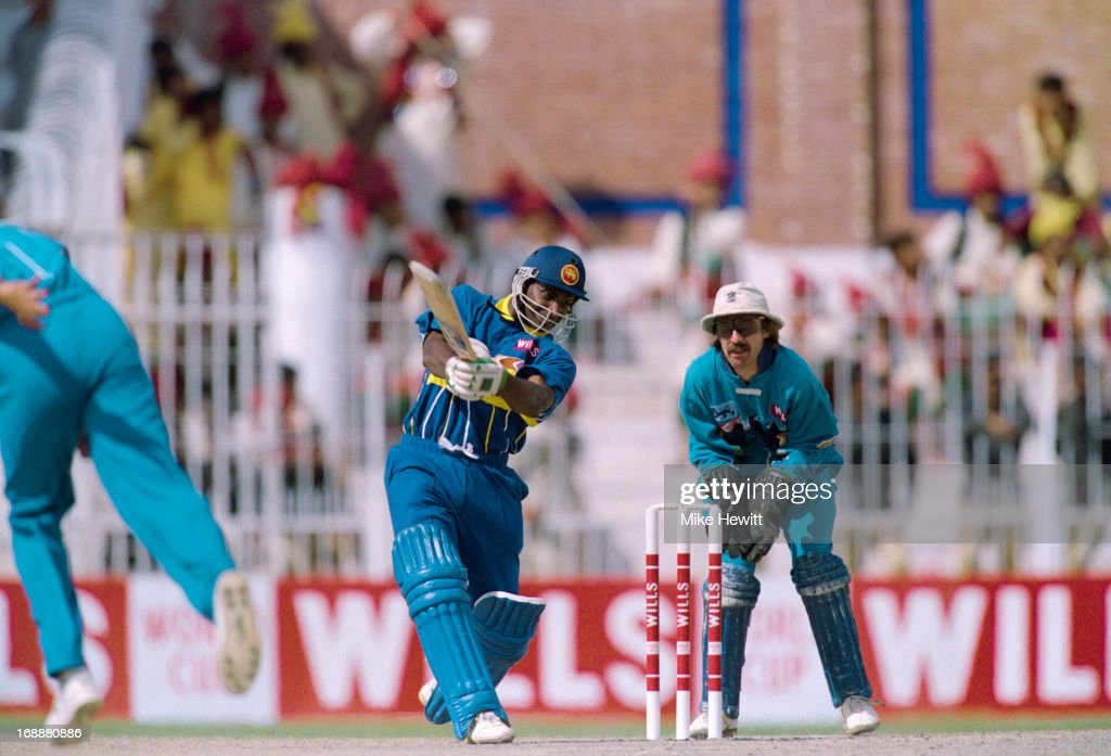 Sri Lankan cricketer Sanath Jayasuriya batting against England in a Cricket World Cup quarter final at at Iqbal Stadium Faisalabad Pakistan 9th March...
