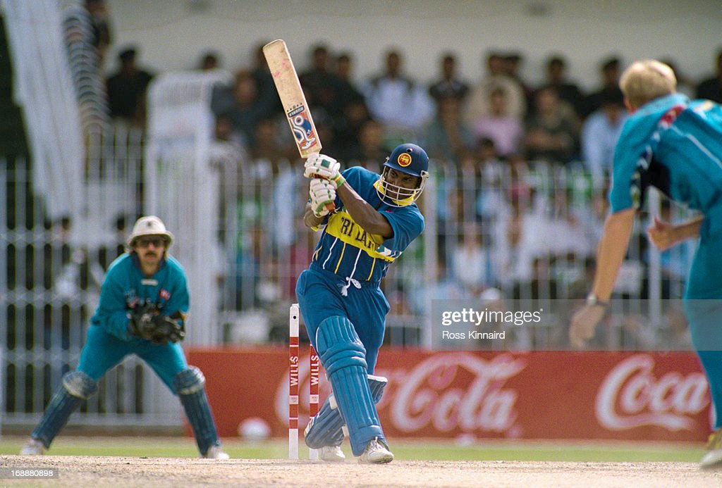 Sri Lankan cricketer <a gi-track='captionPersonalityLinkClicked' href=/galleries/search?phrase=Sanath+Jayasuriya&family=editorial&specificpeople=206914 ng-click='$event.stopPropagation()'>Sanath Jayasuriya</a> batting against England in a Cricket World Cup quarter final at at Iqbal Stadium, Faisalabad, Pakistan, 9th March 1996. Sri Lanka won the match by 5 wickets.
