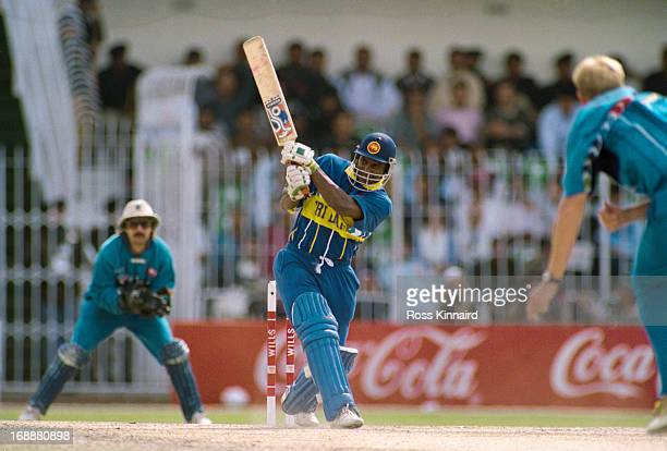 Sri Lankan cricketer Sanath Jayasuriya batting against England in a Cricket World Cup quarter final at at Iqbal Stadium Faisalabad Pakistan 9th March...