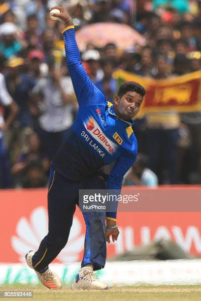 Sri Lankan cricketer Wanidu Hasaranga delivers the ball that completed a hattrick of wickets against Zimbabwe during the 2nd One Day International...