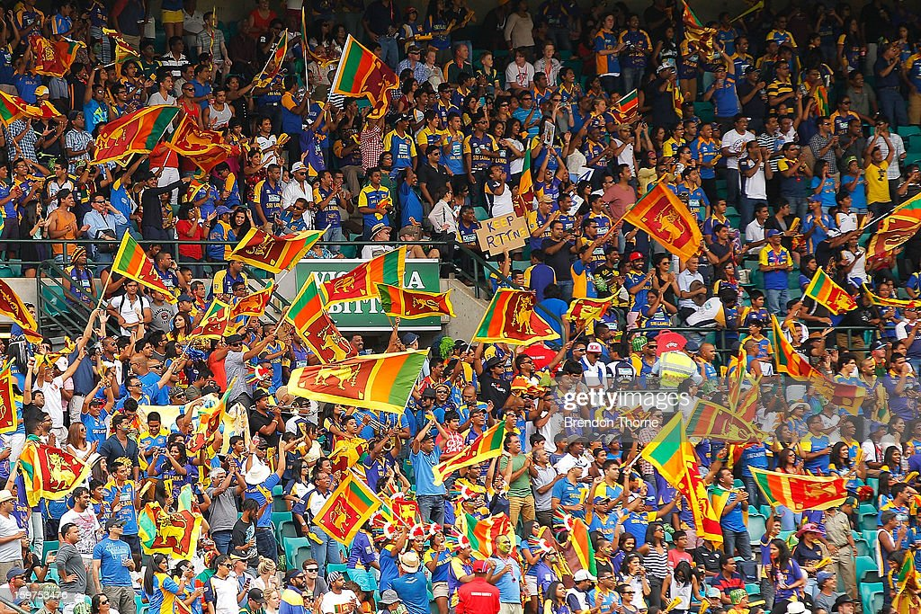 Sri Lankan fans cheer their side during game four of the Commonwealth Bank one day international series between Australia and Sri Lanka at Sydney Cricket Ground on January 20, 2013 in Sydney, Australia.