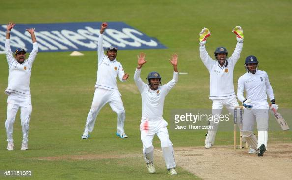 Sri Lankan fielders appeal successfully for the wicket of Chris Jordan of England after he was trapped LBW by Rangana Herath of Sri Lanka during day...