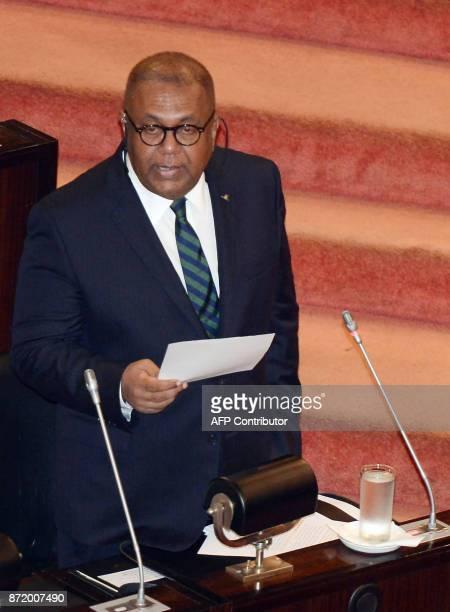 Sri Lankan Finance Minister Mangala Samaraweera presents the 2018 budget to parliament in Colombo on November 9 2017 Sri Lanka drastically cut import...