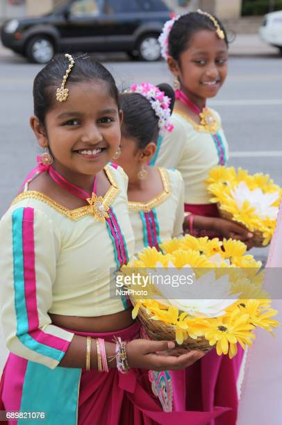 Sri Lankan girls take part in a procession during the festival of Vesak in Mississauga Ontario Canada on 28 May 2017 Vesak commonly known as Lord...