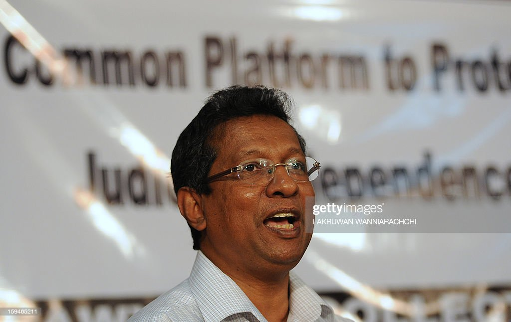 Sri Lankan lawyer J. C. Weliamuna speaks during a press conference in Colombo January 14, 2013. Sri Lanka's lawyers announced legal action against the controversial sacking of chief justice Shirani Bandaranayake and vowed to keep up a battle for judicial independence.