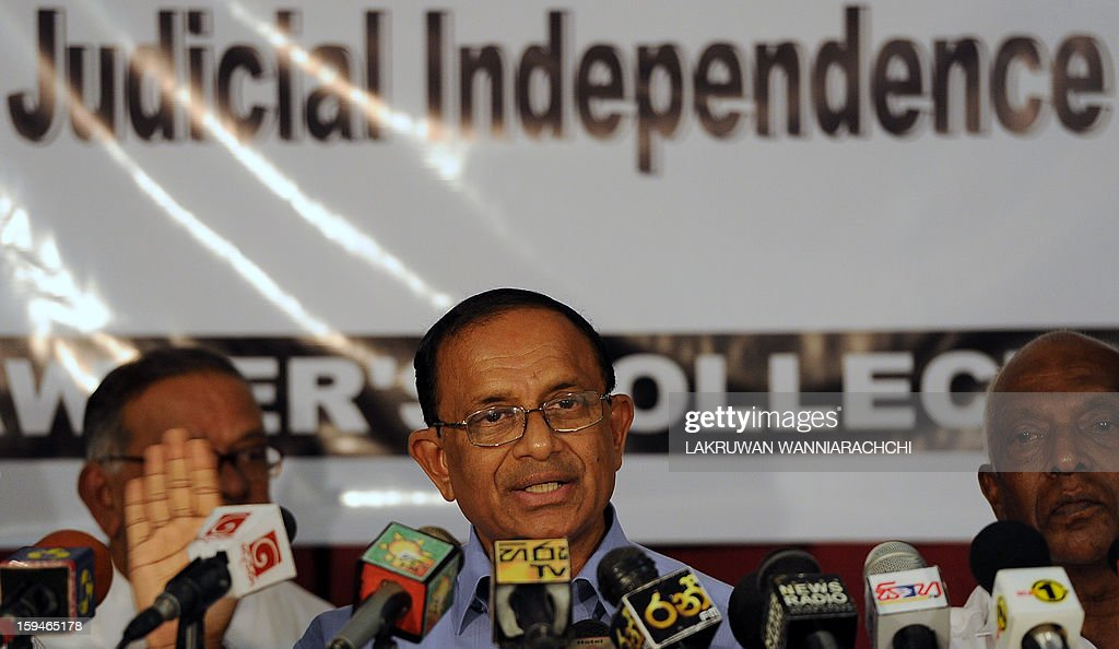 Sri Lankan lawyer Jayantha Wekramarathna (C) speaks during a press conference in Colombo January 14, 2013. Sri Lanka's lawyers announced legal action against the controversial sacking of chief justice Shirani Bandaranayake and vowed to keep up a battle for judicial independence.