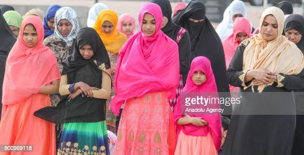 Sri Lankan Muslim women pray during the Eid alFitr prayer at the Galle Face green in Colombo Sri Lanka on July 26 2017 Eid alFitr is a religious...