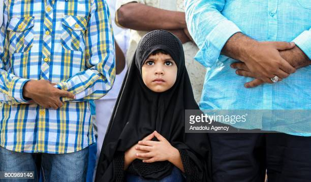 Sri Lankan Muslims pray during the Eid alFitr prayer at the Galle Face green in Colombo Sri Lanka on July 26 2017 Eid alFitr is a religious holiday...