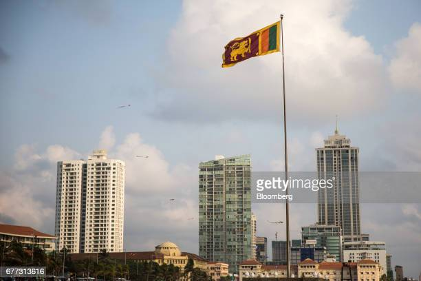 A Sri Lankan national flag flies at Galle Face Green in Colombo Sri Lanka on Saturday April 22 2017 Once fought over by European powers Sri Lanka is...