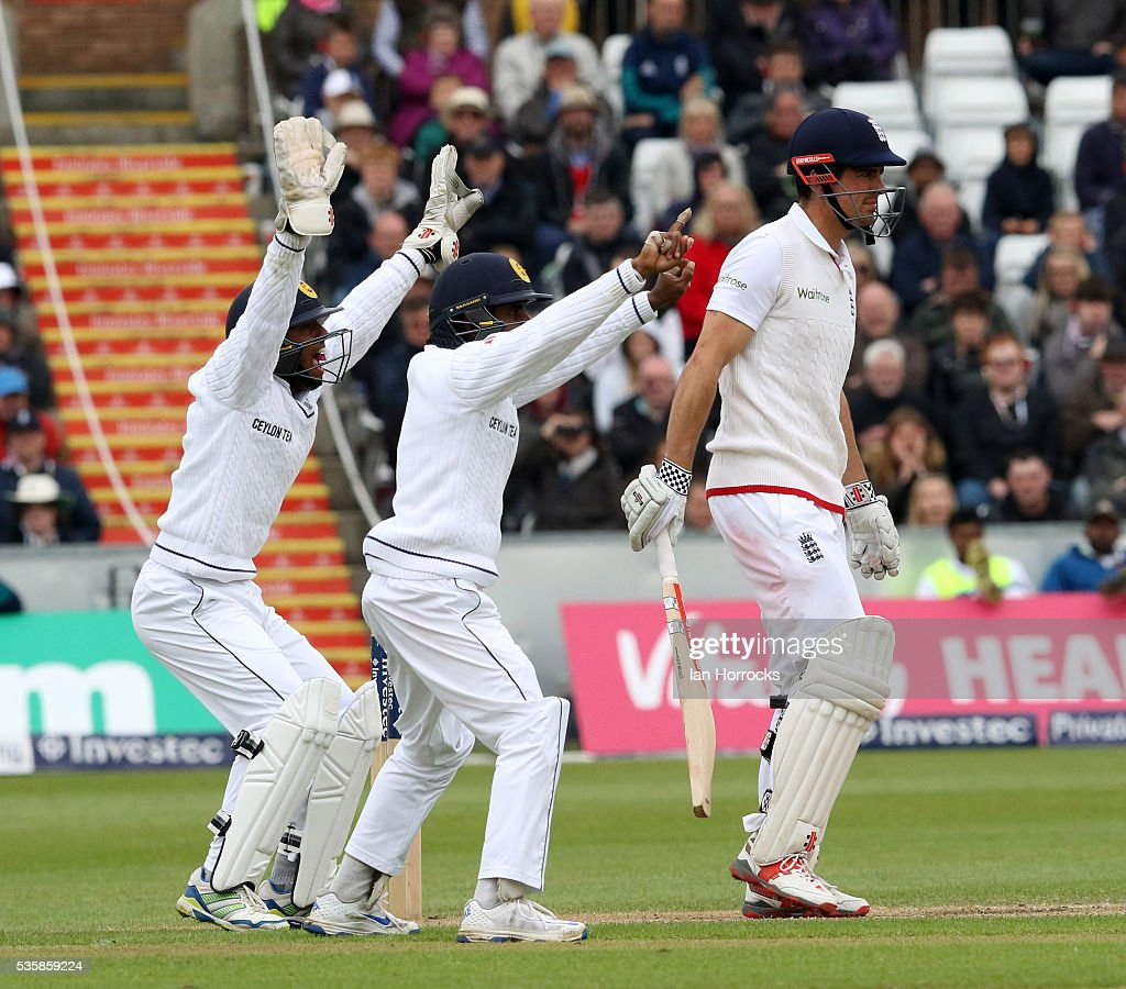 Sri Lankan players make an unsuccessful appeal for the wicket of England captain Alastair Cook (R) during day four of the 2nd Investec Test match between England and Sri Lanka at Emirates Durham ICG on May 30, 2016 in Chester-le-Street, United Kingdom.