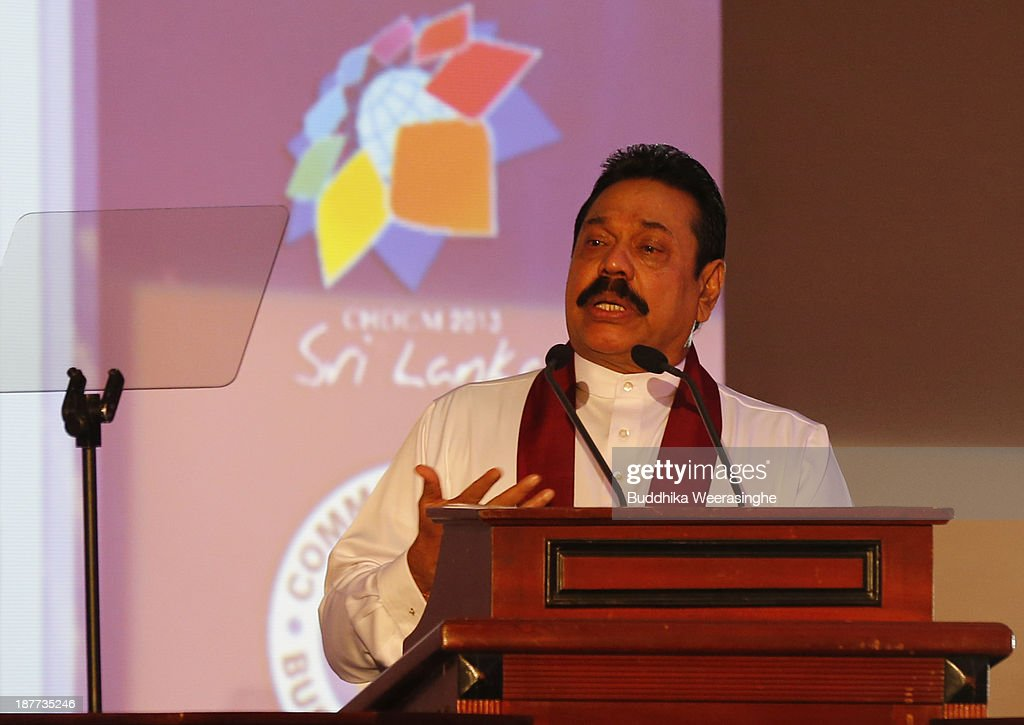Sri Lankan President <a gi-track='captionPersonalityLinkClicked' href=/galleries/search?phrase=Mahinda+Rajapaksa&family=editorial&specificpeople=588377 ng-click='$event.stopPropagation()'>Mahinda Rajapaksa</a> address the inaugural session of The Commonwealth Business Forum on November 12, 2013 in Colombo, Sri Lanka. The biennial Commonwealth Heads of Government Meeting (CHOGM) will take place from November 15-17, amidst pressure from human rights groups urging leaders to boycott the summit until Sri Lanka further investigates charges of war crimes. Both the Canadian Prime Minister, Stephen Harper and Indian Prime Minister, Manmohan Signh have confirmed they will not attend.