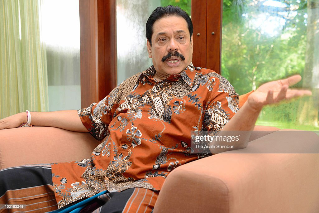 Sri Lankan President <a gi-track='captionPersonalityLinkClicked' href=/galleries/search?phrase=Mahinda+Rajapaksa&family=editorial&specificpeople=588377 ng-click='$event.stopPropagation()'>Mahinda Rajapaksa</a> speaks during the Asahi Shimbun interview on March 5, 2013 in Kataragama, Sri Lanka. President Rajapaksa will be on the state visit to Japan from March 12.