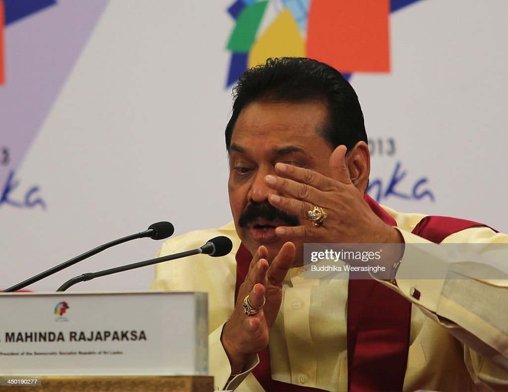 Sri Lankan President <a gi-track='captionPersonalityLinkClicked' href=/galleries/search?phrase=Mahinda+Rajapaksa&family=editorial&specificpeople=588377 ng-click='$event.stopPropagation()'>Mahinda Rajapaksa</a> speaks to journalists as during the press conferance on the final day of the Commonwealth Heads of Government Meeting (CHOGM) on November 17, 2013 in Colombo, Sri Lanka. The biennial summit of Commonwealth leaders was attended by over 5000 delegates including the Prince of Wales and the Duchess of Cornwall.