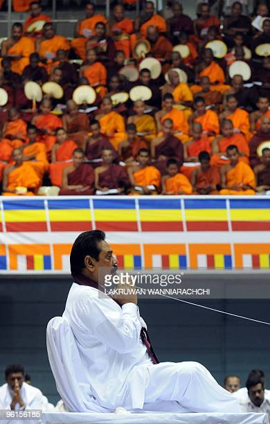 Sri Lankan President Mahinda Rajapakse receives blessings from Buddhist monks in Colombo on January 24 2010 UN chief Ban Kimoon is alarmed by the...