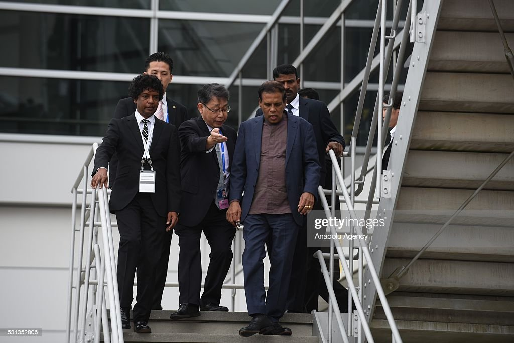 Sri Lankan President Maithripala Sirisena arrives at Chubu Centrair International Airport in Tokoname Aichi Prefecture central Japan 25 May 2016