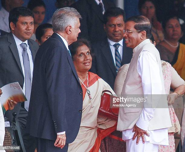 Sri Lankan President Maithripala Sirisena former President Chandrika Kumaratunge and Prime Minister Ranil Wickremesinghe are seen during the...