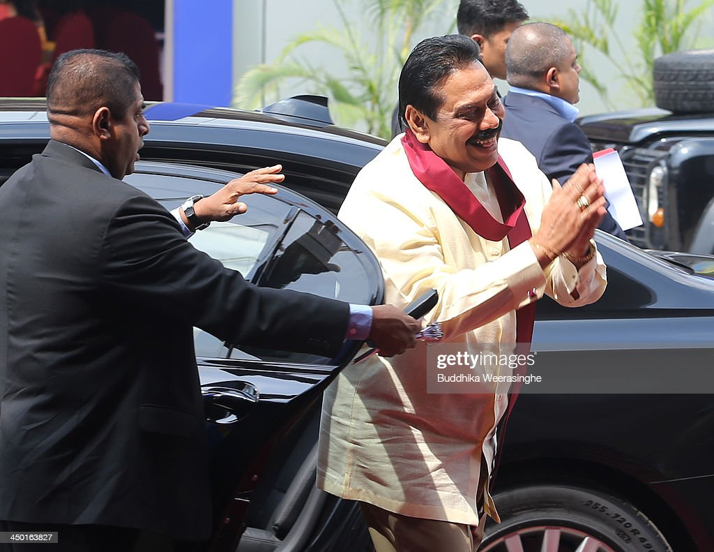 Sri Lankan President Mhainda Rajapaksa arrives to Heads of State session on the final day of the Commonwealth Heads of Government Meeting (CHOGM) on November 17, 2013 in Colombo, Sri Lanka. The biennial summit of Commonwealth leaders was attended by over 5000 delegates including the Prince of Wales and the Duchess of Cornwall.