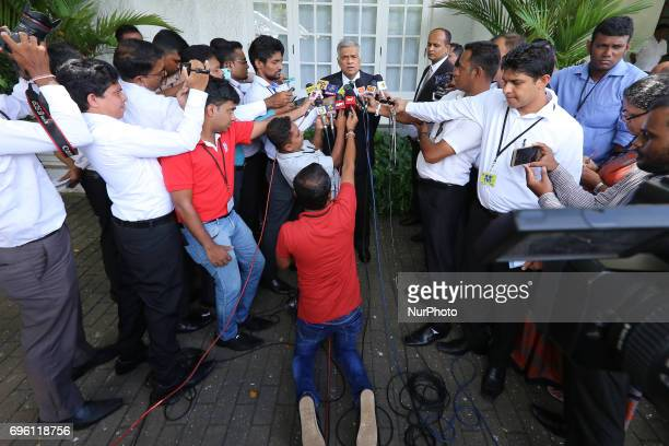 Sri Lankan Prime Minister Ranil Wickramasinghe addresses a media conference attended by Sri Lankan journalists at prime minister's house Temple Trees...