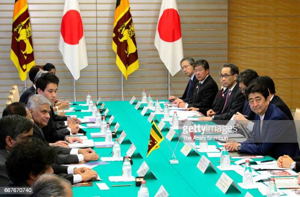 Sri Lankan Prime Minister Ranil Wickremesinghe and his Japanese Prime Minister Shinzo Abe hold talks at Abe's official residence on April 12 2017 in...