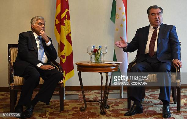 Sri Lankan Prime Minister Ranil Wickremesinghe and the President of Tajikistan Emomali Rahmon speak to media ahead of a meeting in Colombo on...