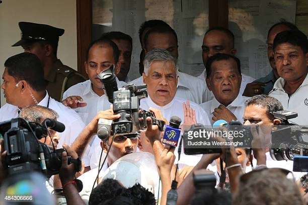 Sri Lankan Prime Minister Ranil Wickremesinghe of the United National Party speaks to media after casting his vote in the General election on August...