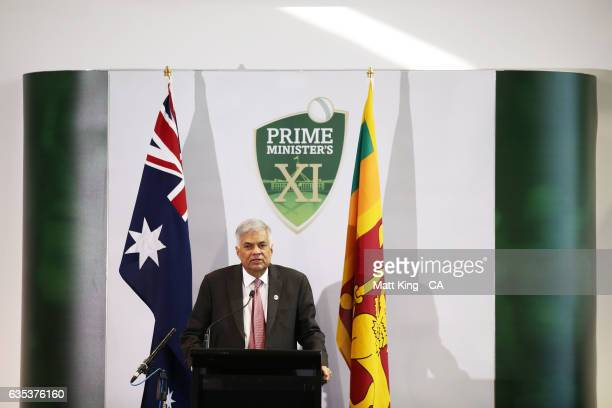 Sri Lankan Prime Minister Ranil Wickremesinghe speaks at the official function during the T20 warm up match between the Australian PM's XI and Sri...