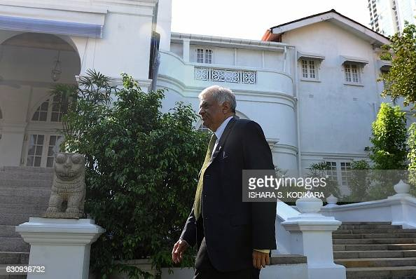Sri Lankan Prime Minister Ranil Wickremesinghe walks at the launch of the governments new national progress agenda for individual prosperity in...