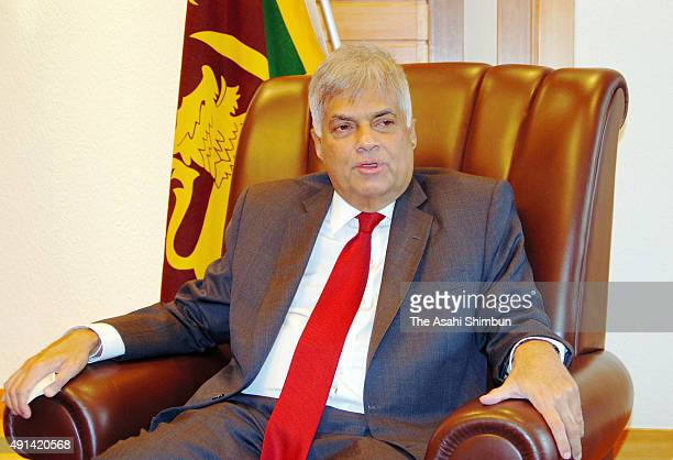 Sri Lankan Prime Minister Sri Lankan Prime Minister Ranil Wickremesinghe speaks during the Asahi Shimbun interview at a hotel on October 5 2015 in...