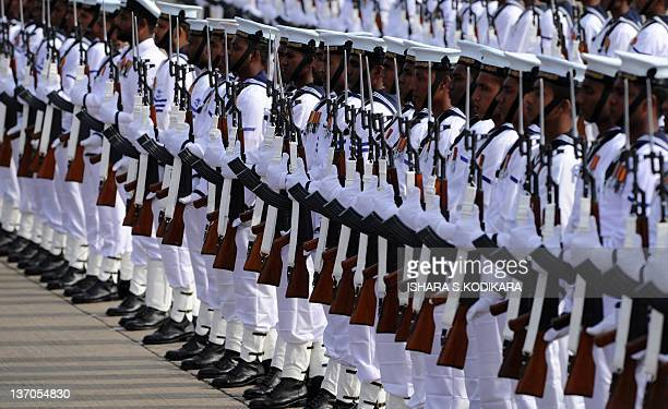 Sri Lankan soldiers march during a welcome ceremony for Qatar Emir Sheikh Hamad bin Khalifa alThani at Sri Lanka's international airport in...