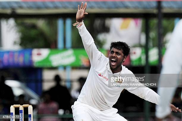 Sri Lankan spinner Tharindu Kaushal appeals during the opening day of the second Test between Sri Lanka and Pakistan at the P Sara Oval Cricket...