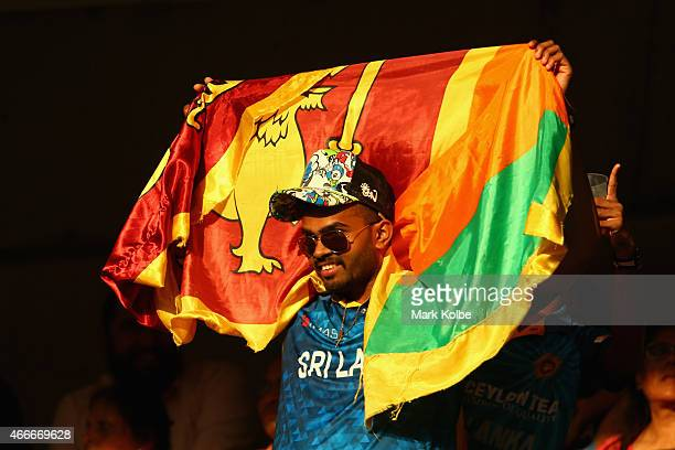 Sri Lankan supporter in the crwod cheers during the 2015 ICC Cricket World Cup match between South Africa and Sri Lanka at Sydney Cricket Ground on...