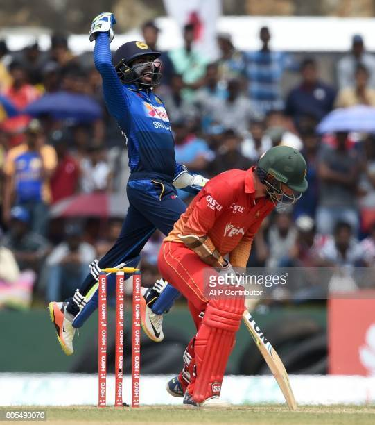 Sri Lankan wicketkeeper Niroshan Dickwella celebrates after he dismissing Zimbabwe cricketer Craig Ervine during the second oneday international...