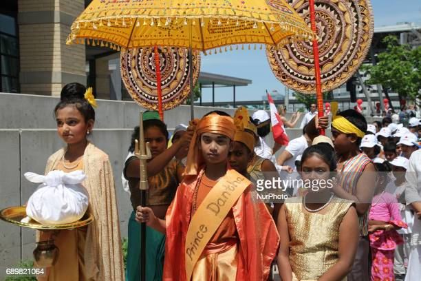Sri Lankan youth take part in a procession during the festival of Vesak in Mississauga Ontario Canada on 28 May 2017 Vesak commonly known as Lord...