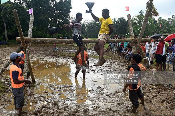 Sri Lankan's participate in a traditional game to knock an opponent off a balance beam in a muddy field during Sinhala and Tamil New Year...