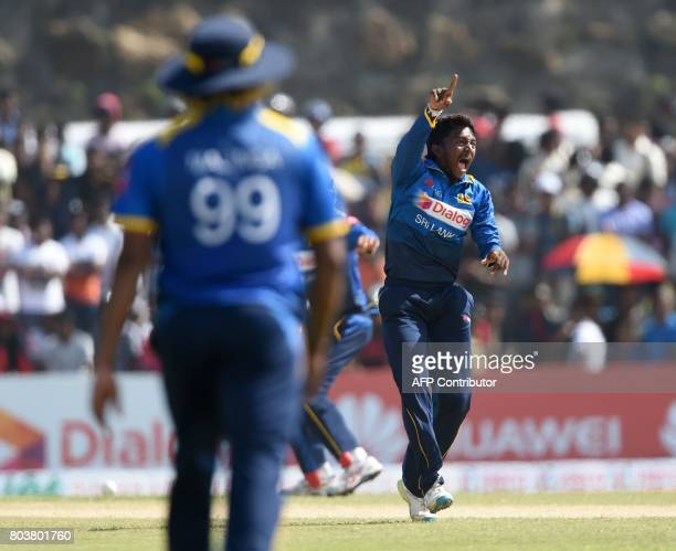 Sri Lanka's Akila Dananjaya appeals to Zimbabwe's Solomon Mire during the first oneday international cricket match between Sri Lanka and Zimbabwe at...