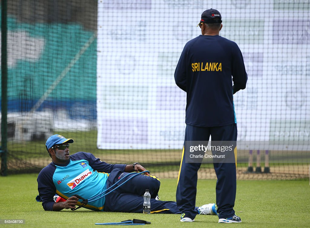 Sri Lanka's Angelo Mathews relaxes during an England & Sri Lanka Nets Session at The Kia Oval on June 28, 2016 in London, England.