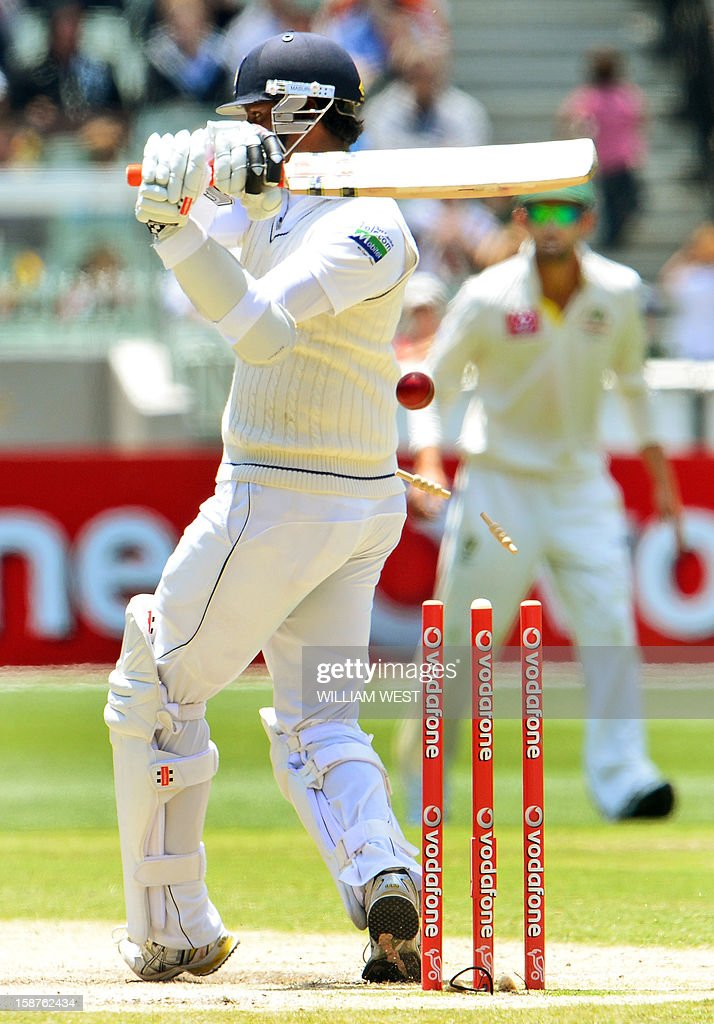 Sri Lanka's batsman Angelo Mathews is bowled by Australia's fast bowler Mitchell Johnson on the third day of the second cricket Test match at the Melbourne Cricket Ground (MCG) on December 28, 2012. AFP PHOTO/William WEST USE