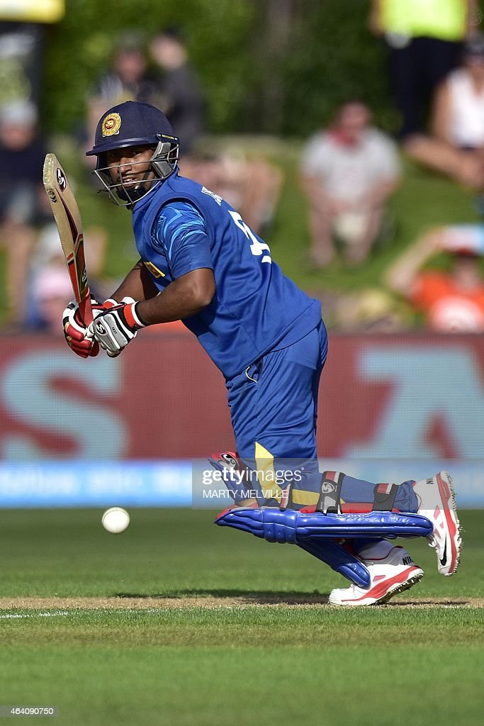 Sri Lanka's batsman <a gi-track='captionPersonalityLinkClicked' href=/galleries/search?phrase=Jeevan+Mendis&family=editorial&specificpeople=7037737 ng-click='$event.stopPropagation()'>Jeevan Mendis</a> plays a shot during the Pool A 2015 Cricket World Cup cricket match between Sri Lanka and Afghanistan at University Oval in Dunedin on February 22, 2015.