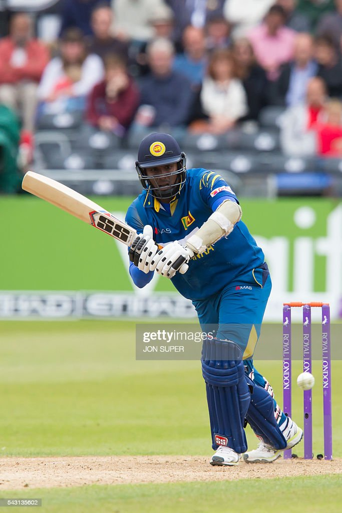 Sri Lanka's captain Angelo Mathews plays a shot during play in the third one day international (ODI) cricket match between England and Sri Lanka at Bristol cricket ground in Bristol, south-west England, on June 26, 2016. England captain Eoin Morgan won the toss and elected to field against Sri Lanka in the third one-day international at Bristol on Sunday. / AFP / JON