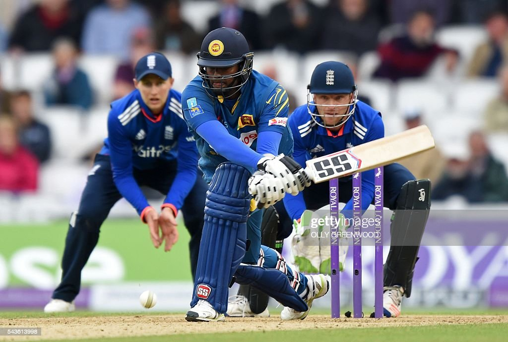Sri Lanka's captain Angelo Mathews plays a shot during play in the fourth One Day International (ODI) cricket match between England and Sri Lanka at The Oval cricket ground in London on June 29, 2016. England captain Eoin Morgan elected to field after winning the toss in the fourth one-day international against Sri Lanka at The Oval on Wednesday. ECB
