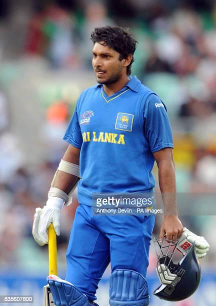Sri Lanka's captain Kumar Sangakkara leaves the field after being caught by Kieron Pollard during the ICC World Twenty20 Semi Final at The Oval London