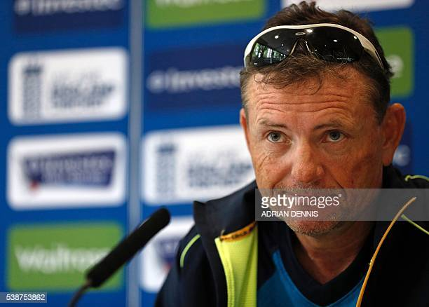 Sri Lanka's coach Graham Ford listens to a question during a press conference at Lord's cricket ground in London on June 8 2016 Sri Lanka play...
