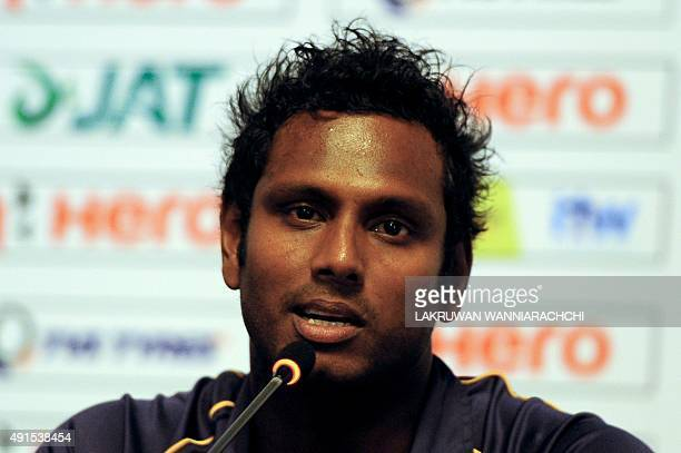 Sri Lanka's cricket captain Angelo Mathews addresses a press conference in Colombo on October 6 2015 The West Indies Cricket team will be touring Sri...