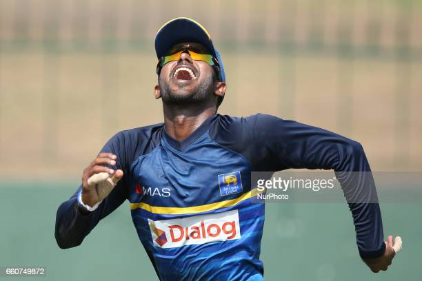Sri Lanka's cricket captain Upul Tharanga look up at the ball as he runs to complete a catch during a practice session at the Sinhalease Sports Club...