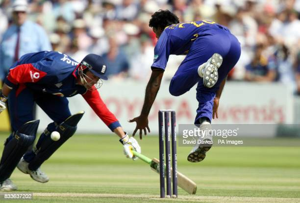 Sri Lanka's Dilhara Fernando attempts to run out England's Marcus Trescothick during the NatWest Series OneDay International match at Lord's London