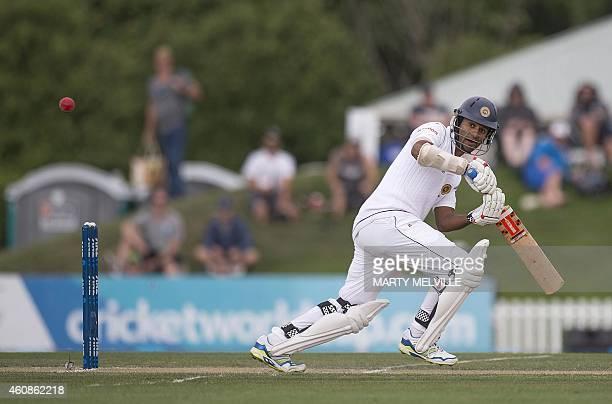 Sri Lanka's Dimuth Karunaratne bats during day three of the first International Test cricket match between New Zealand and Sri Lanka at Hagley Park...