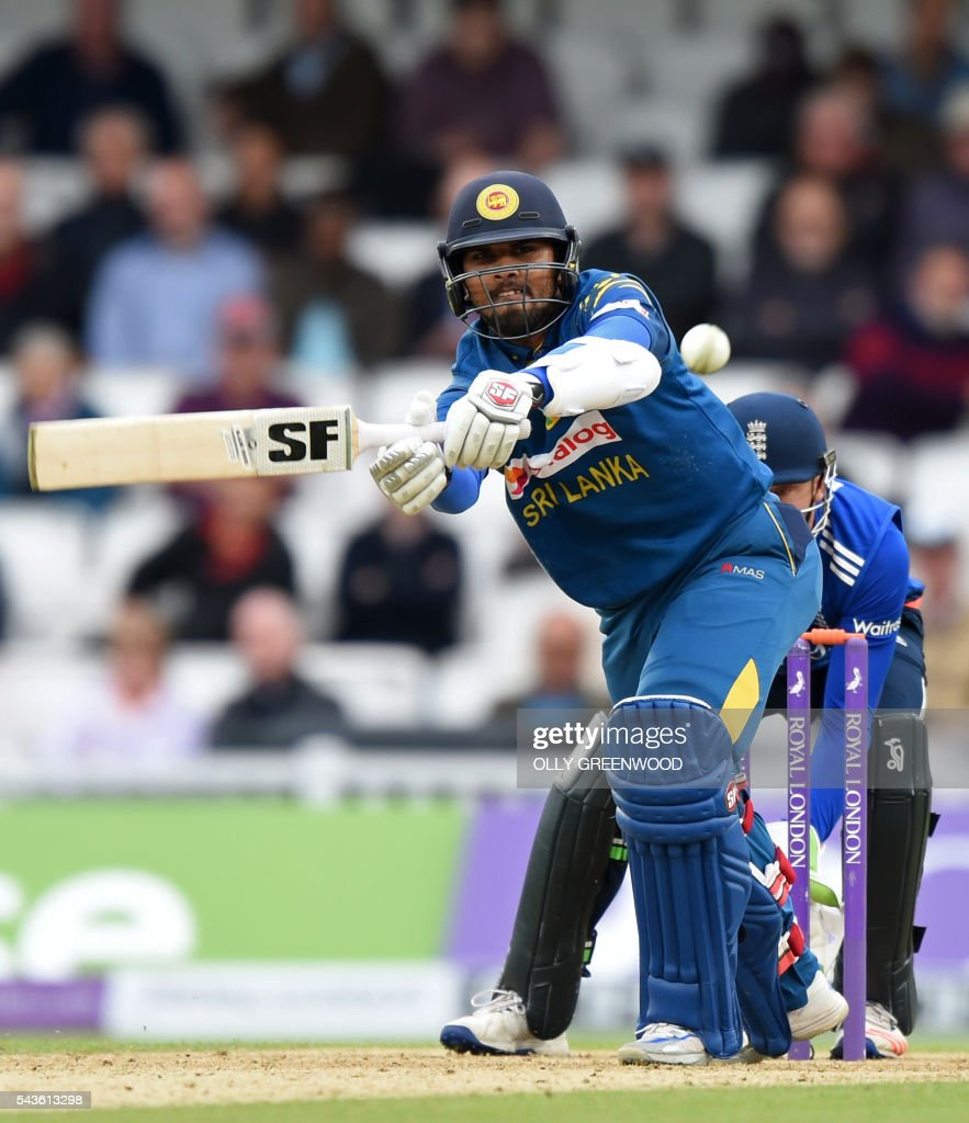 Sri Lanka's Dinesh Chandimal plays a shot during play in the fourth One Day International (ODI) cricket match between England and Sri Lanka at The Oval cricket ground in London on June 29, 2016. England captain Eoin Morgan elected to field after winning the toss in the fourth one-day international against Sri Lanka at The Oval on Wednesday. ECB / The erroneous mention[s] appearing in the metadata of this photo by OLLY GREENWOOD has been modified in AFP systems in the following manner: [Dinesh Chandimal] instead of [Angelo Mathews]. Please immediately remove the erroneous mention[s] from all your online services and delete it (them) from your servers. If you have been authorized by AFP to distribute it (them) to third parties, please ensure that the same actions are carried out by them. Failure to promptly comply with these instructions will entail liability on your part for any continued or post notification usage. Therefore we thank you very much for all your attention and prompt action. We are sorry for the inconvenience this notification may cause and remain at your disposal for any further information you may require.