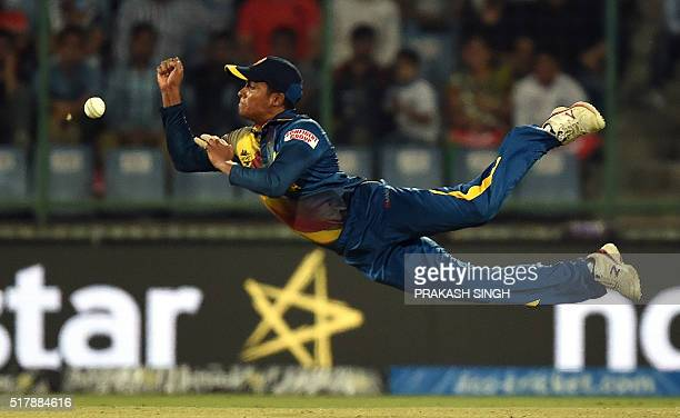Sri Lanka's Jeffrey Vandersay drops a catch off South Africa's captain Faf du Plessis during the World T20 cricket tournament match between South...
