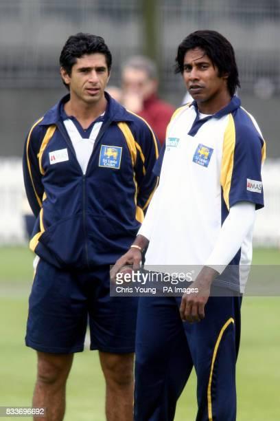Sri Lanka's Kumar Sangakkara and Chaminda Vaas during practice